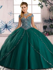 Tulle Sweetheart Cap Sleeves Brush Train Lace Up Beading Quince Ball Gowns in Green