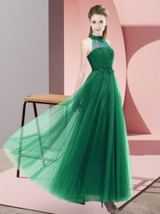 High Class Sleeveless Floor Length Beading and Appliques Lace Up Quinceanera Dama Dress with Dark Green
