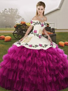 Fantastic Fuchsia Sleeveless Organza Lace Up Vestidos de Quinceanera for Military Ball and Sweet 16 and Quinceanera