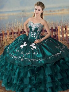 Designer Sweetheart Sleeveless Sweet 16 Dress Floor Length Embroidery and Ruffles Peacock Green Satin and Organza