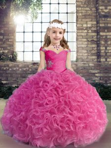 Floor Length Fuchsia Little Girls Pageant Dress Straps Sleeveless Lace Up
