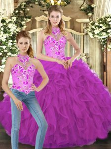 Deluxe Tulle Sleeveless Floor Length Quinceanera Gown and Embroidery and Ruffles