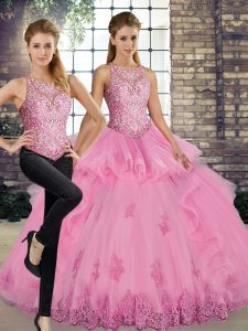 Rose Pink Womens Party Dresses Military Ball and Sweet 16 and Quinceanera with Lace and Embroidery and Ruffles Scoop Sleeveless Lace Up