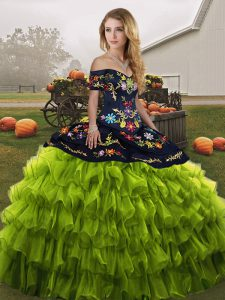 Comfortable Olive Green Lace Up 15th Birthday Dress Embroidery and Ruffled Layers Sleeveless Floor Length