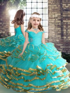 Aqua Blue Girls Pageant Dresses Party and Wedding Party with Beading and Ruching Straps Sleeveless Lace Up