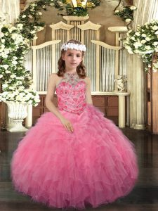 Amazing Pink Ball Gowns Tulle Scoop Sleeveless Beading Floor Length Lace Up Little Girl Pageant Gowns