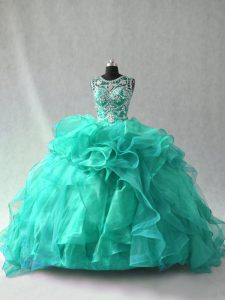 Perfect Sleeveless Floor Length Beading and Ruffles Lace Up 15th Birthday Dress with Turquoise