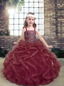 On Sale Organza Straps Sleeveless Lace Up Beading and Ruffles Pageant Gowns For Girls in Burgundy