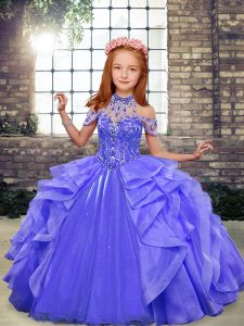 Blue Halter Top Neckline Beading and Ruffles Little Girls Pageant Dress Wholesale Sleeveless Lace Up