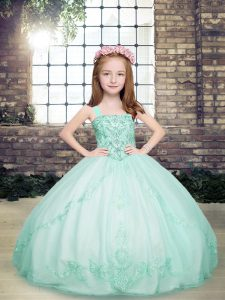 Beading Kids Formal Wear Apple Green Lace Up Sleeveless Floor Length