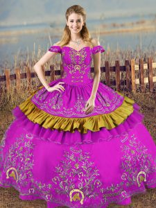 Clearance Purple Sleeveless Floor Length Embroidery Lace Up Quinceanera Gowns