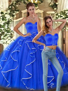 Floor Length Blue Sweet 16 Quinceanera Dress Sweetheart Sleeveless Lace Up