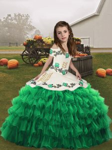 Dramatic Ball Gowns Little Girl Pageant Dress Green Straps Organza Sleeveless Floor Length Lace Up