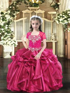 High Quality Organza Straps Sleeveless Lace Up Beading Little Girl Pageant Dress in Hot Pink