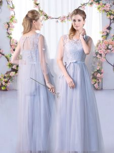 Noble Scoop Sleeveless Quinceanera Court of Honor Dress Floor Length Lace Grey Tulle