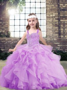 Floor Length Lace Up Kids Pageant Dress Lavender for Party and Sweet 16 and Wedding Party with Beading and Ruffles