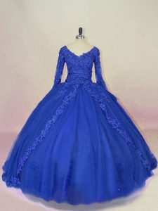 Stylish Ball Gowns Long Sleeves Royal Blue Sweet 16 Quinceanera Dress Lace Up