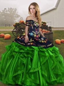 Enchanting Organza Off The Shoulder Sleeveless Lace Up Embroidery and Ruffles 15 Quinceanera Dress in Green