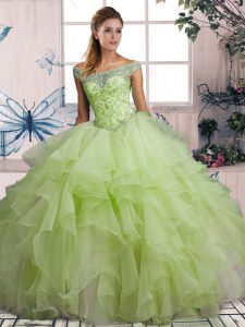 Yellow Green Sleeveless Beading and Ruffles Floor Length 15 Quinceanera Dress