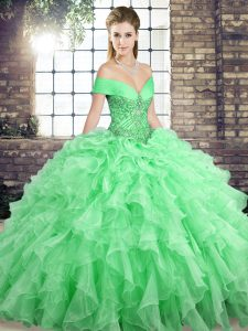 Inexpensive Apple Green Off The Shoulder Lace Up Beading and Ruffles Quinceanera Gowns Brush Train Sleeveless