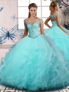 Tulle Off The Shoulder Sleeveless Lace Up Beading and Ruffles 15th Birthday Dress in Aqua Blue