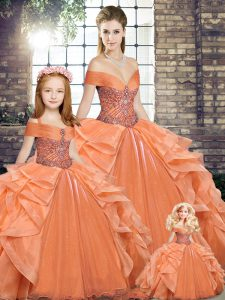 Perfect Orange Organza Lace Up Ball Gown Prom Dress Sleeveless Floor Length Beading and Ruffles