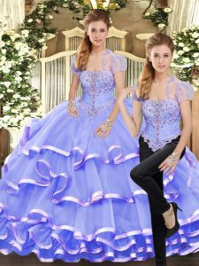 Affordable Floor Length Lace Up Sweet 16 Quinceanera Dress Lavender for Military Ball and Sweet 16 and Quinceanera with Beading and Ruffled Layers