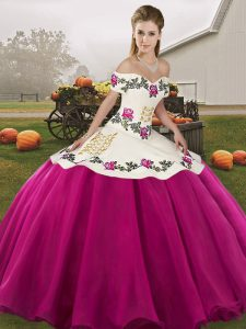 Simple Off The Shoulder Sleeveless Vestidos de Quinceanera Floor Length Embroidery Fuchsia Organza