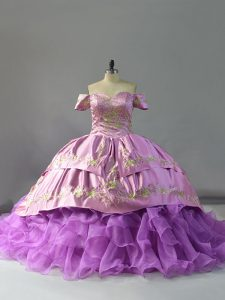 Romantic Lavender Sleeveless Beading and Embroidery and Ruffles Lace Up Sweet 16 Dresses