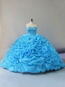 Elegant Court Train Ball Gowns Sweet 16 Quinceanera Dress Baby Blue Sweetheart Organza Sleeveless Lace Up