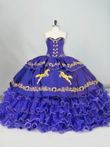 Gorgeous Sweetheart Sleeveless Sweet 16 Dress Brush Train Embroidery and Ruffled Layers Purple Organza