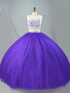 Captivating Appliques Sweet 16 Dresses Purple Zipper Sleeveless Floor Length