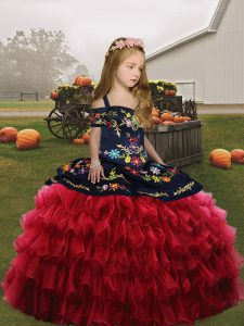Ball Gowns Child Pageant Dress Red Straps Organza Sleeveless Floor Length Lace Up