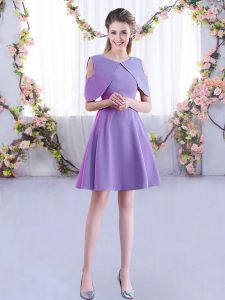 Beautiful Lavender Scoop Neckline Ruching Court Dresses for Sweet 16 Half Sleeves Zipper