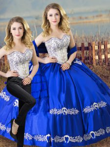 Extravagant Satin and Organza Sleeveless Floor Length Quinceanera Dresses and Beading and Embroidery