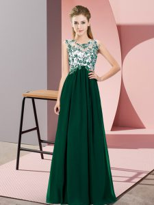 Chiffon Sleeveless Floor Length Dama Dress and Beading and Appliques