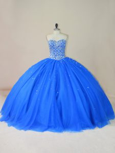 Sweetheart Sleeveless Lace Up Vestidos de Quinceanera Blue Tulle