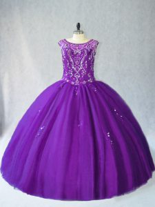 Purple Ball Gowns Scoop Sleeveless Tulle Floor Length Lace Up Beading and Appliques Quinceanera Gown