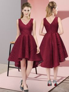 Chic Sleeveless High Low Lace Zipper Quinceanera Dama Dress with Burgundy