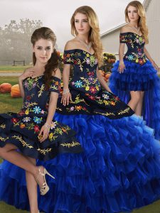 Floor Length Blue And Black Vestidos de Quinceanera Off The Shoulder Sleeveless Lace Up