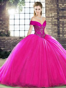 Custom Designed Off The Shoulder Sleeveless Organza Ball Gown Prom Dress Beading Brush Train Lace Up