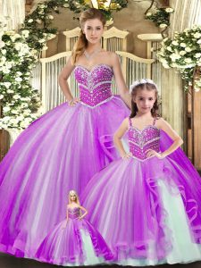 Fancy Floor Length Lavender Quinceanera Gowns Tulle Sleeveless Beading