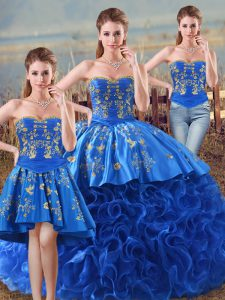 Eye-catching Floor Length Lace Up 15 Quinceanera Dress Royal Blue for Sweet 16 and Quinceanera with Embroidery and Ruffles