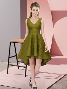 Olive Green Sleeveless Lace Zipper Damas Dress for Wedding Party