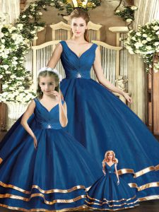 Floor Length Ball Gowns Sleeveless Navy Blue 15th Birthday Dress Backless