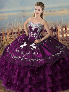 Unique Purple Sweet 16 Dresses Sweet 16 and Quinceanera with Embroidery and Ruffles Sweetheart Sleeveless Lace Up
