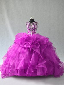 Superior Purple Sleeveless Organza Lace Up Quince Ball Gowns for Sweet 16 and Quinceanera