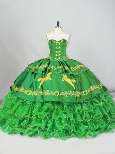 Fine Green Ball Gowns Sweetheart Sleeveless Satin and Organza Brush Train Lace Up Embroidery and Ruffled Layers Sweet 16 Quinceanera Dress