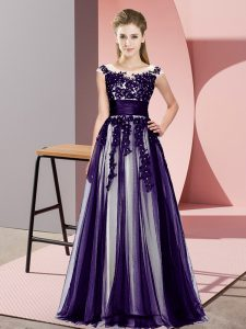 New Arrival Beading and Lace Quinceanera Court of Honor Dress Purple Zipper Sleeveless Floor Length