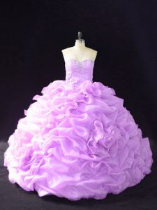 Nice Lilac Organza Lace Up Sweetheart Sleeveless Quinceanera Gowns Court Train Beading and Pick Ups and Hand Made Flower